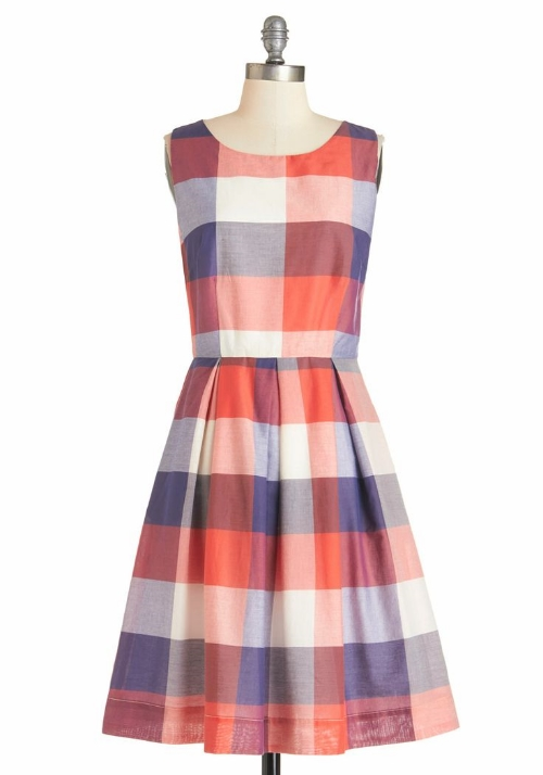 Modcloth Chalk of the Town Dress in Plaid