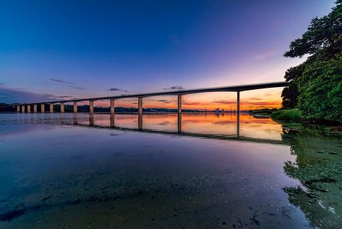 bridge trees sunset color water denmark vejle vejlefjord samyang14mmf28 sonya7r bentvelling