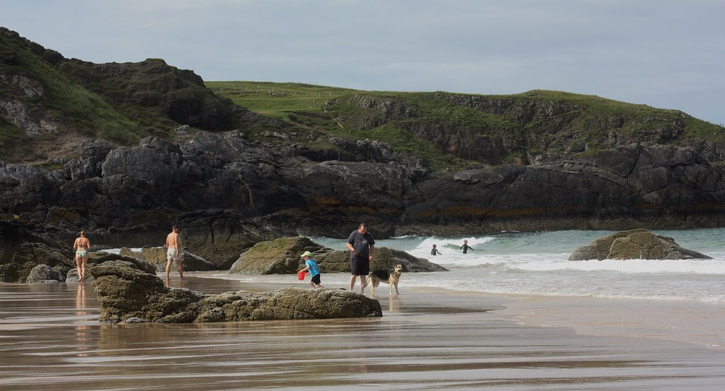 Durness beach swimmers kids dogs