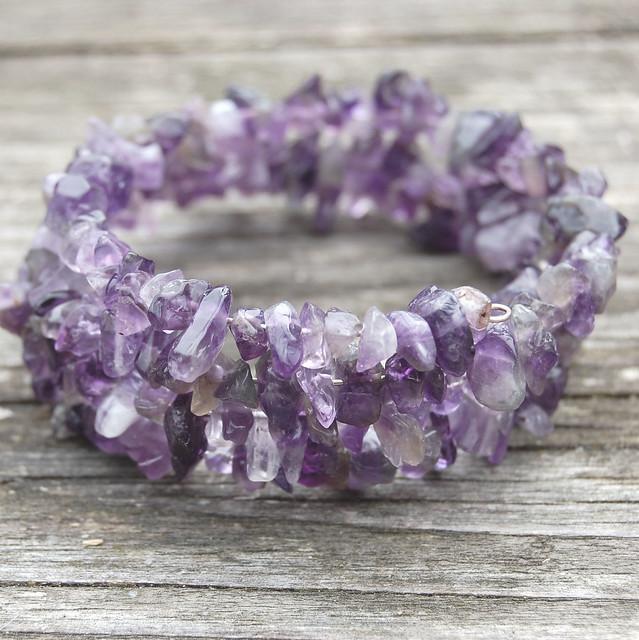 Gemstone spiral bracelets - Amethyst