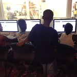 Young makers creating animated cartoons