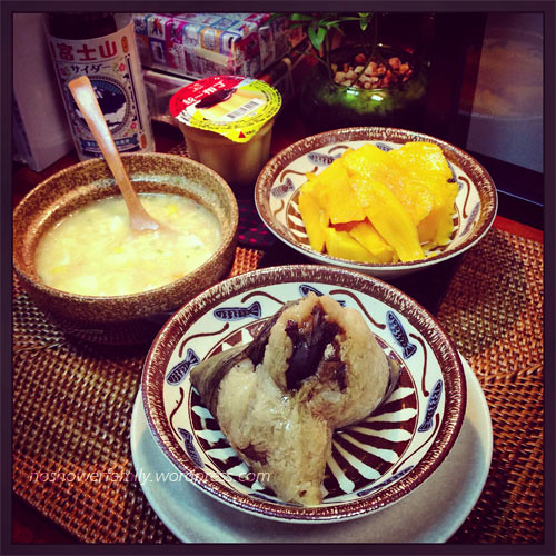 Homemade Zongzi, mango, corn soup, egg pudding