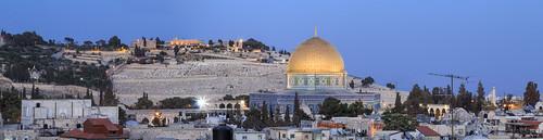 panorama skyline gold israel palestine jerusalem domeoftherock dome bluehour oldcity mountofolives hashimihotel