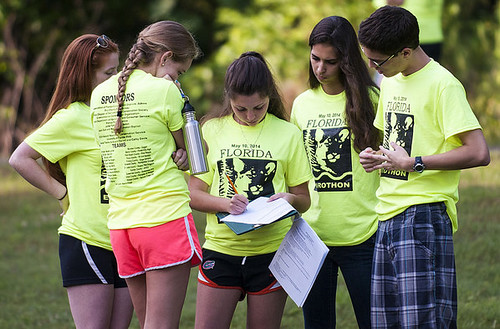 "The Jupiter High School ""Pine People"" take a test during the state Envirothon competition. NRCS photo."