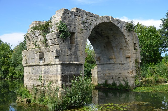 Remaining arch of Pont Ambroix, 1st century BC Roman bridge part of the Via Domitia, Ambrussum, France