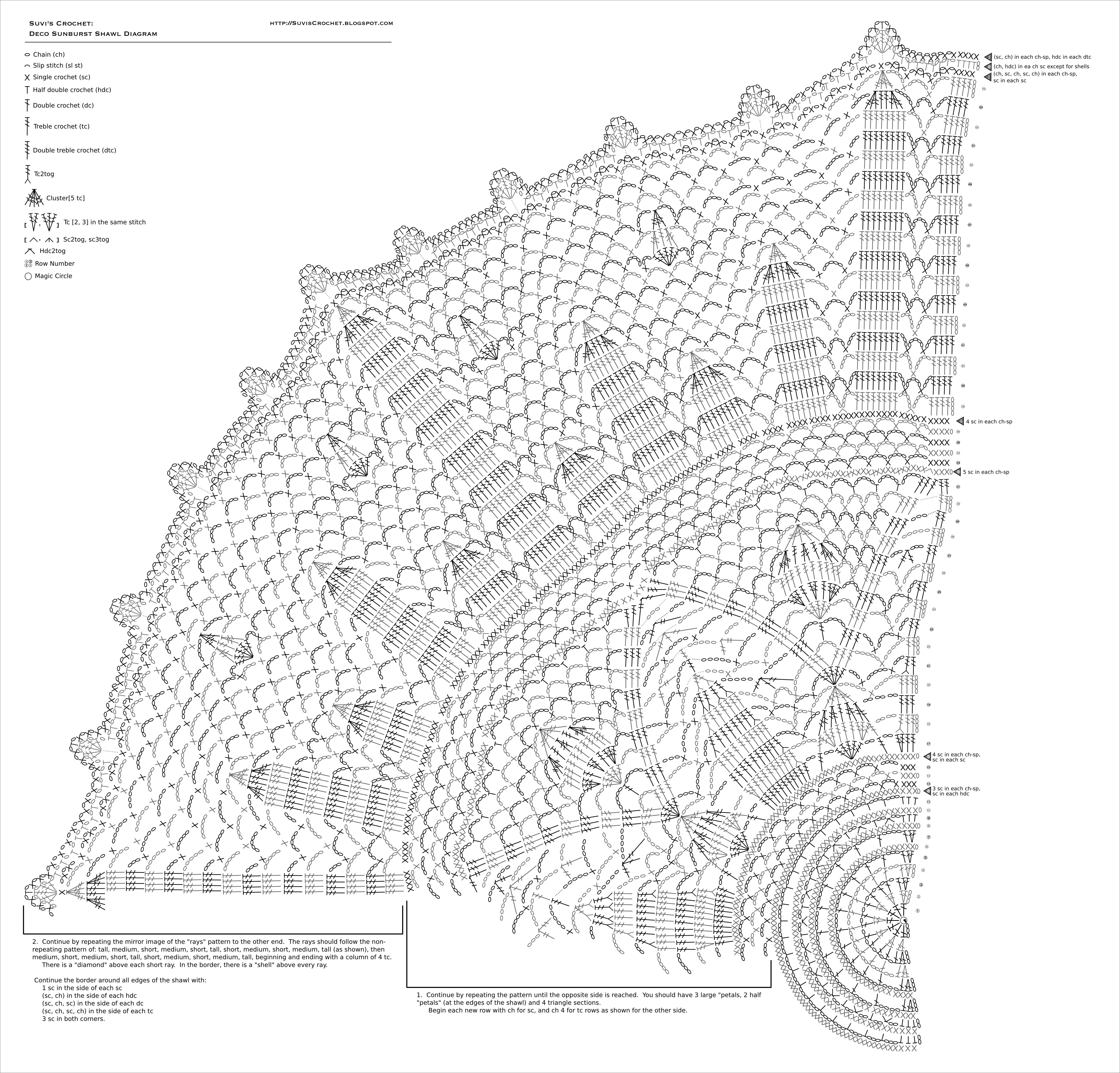 Suvis crochet art deco sunburst shawl here is a high resolution stitch diagram for the shawl ccuart Gallery