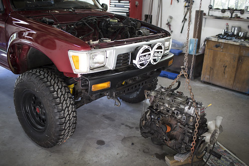 Photo5 _ The beginning of the two day engine swap _ Photo by Richard Giordano