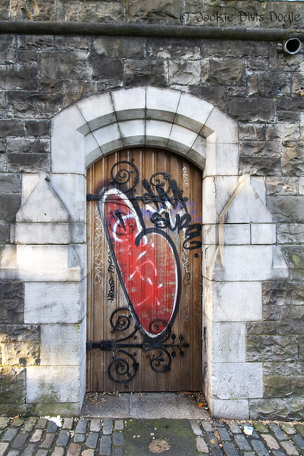 Graffito-tagged door, Christ Church