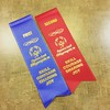 Taylor's ribbons from yesterday's tournament. First in doubles and second in singles! :bowling: #bowling #specialolympics