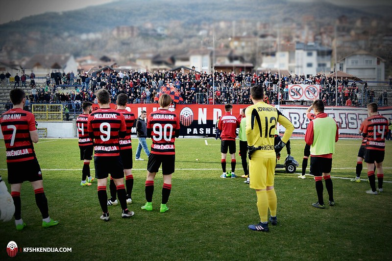 The players of Shkendija ask for forgiveness from their fans after the match; photo: KF Shkendija