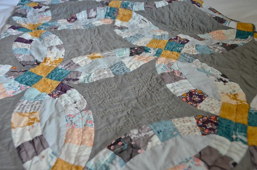 Completed Double Wedding Ring Quilt - front - washed