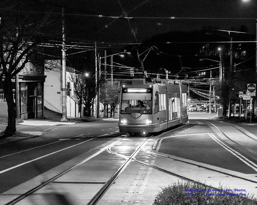 Here Comes the Morning Streetcar in Black & White