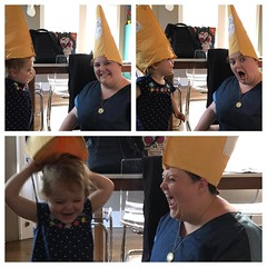 Edie learned about celebratory hats from my birthday celebration. She says,