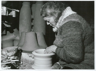 Miss Y. Rust, arts mistress Greymouth High School at work on her pottery