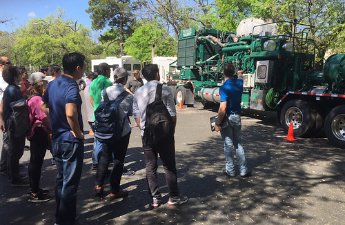 Pioneer showcases a hydraulic fracturing truck to students on  campus