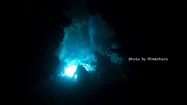 洞窟の奥でエビ観察中♪