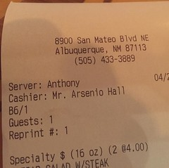 Look at who my cashier was tonight at Bosque Brewing! I didn't realize things had gotten so bad for him... :-)