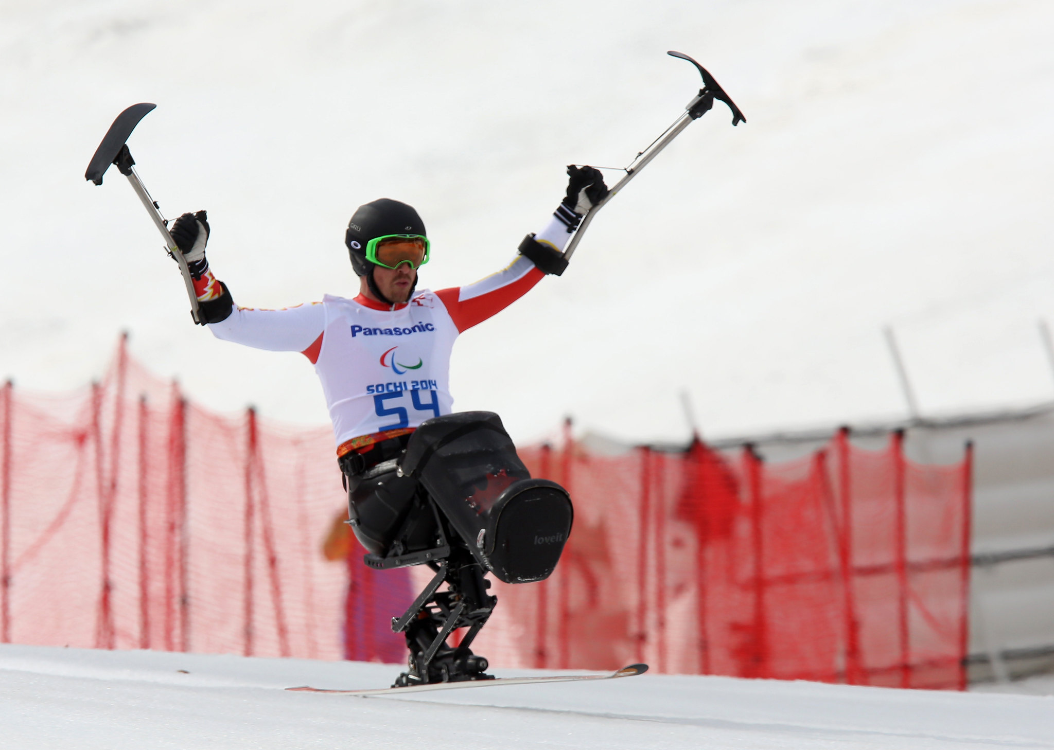 Josh Dueck with a silver medal performance in the Downhill in Sochi, RUS at the Paralympic Winter Games