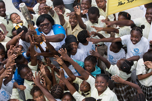 Children from Lookout Primary School welcome the Queen's Baton, in Montserrat, on Tuesday 25 March 2014. Montserrat is nation 50 of 70 Commonwealth nations and territories to be visited by the Queen's Baton.