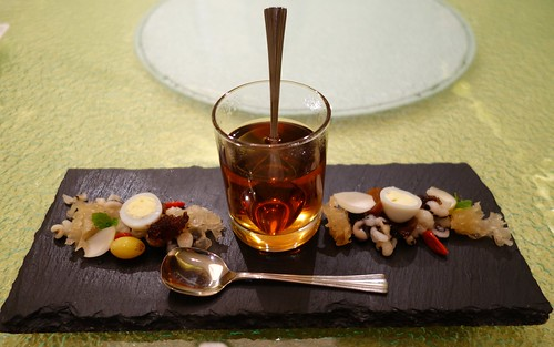 White Tremella Mushroom Herbal Tea with Eight Treasures - Coix Barley, Gingko Biloba, Euryale Seed, Honey Date, Boat-fruited Sterculia Seed, Chinese Wolfberry, Longan Fruit and Fresh Lily Bulb. WGS 2014. Eu Yan Sang Dinner at Majestic