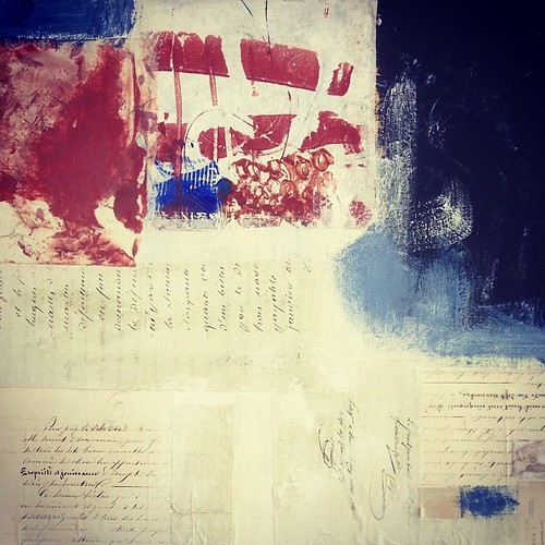 Detail of a beginning. #workinprogress #art #collage #mixedmedia #painting #studiotable (actually not on my table as this isn't encaustic- on my easel )