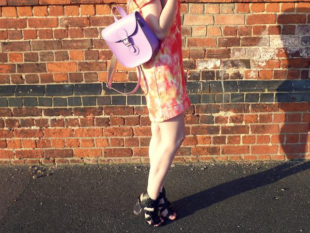 Orange shift dress | pastel purple rucksack