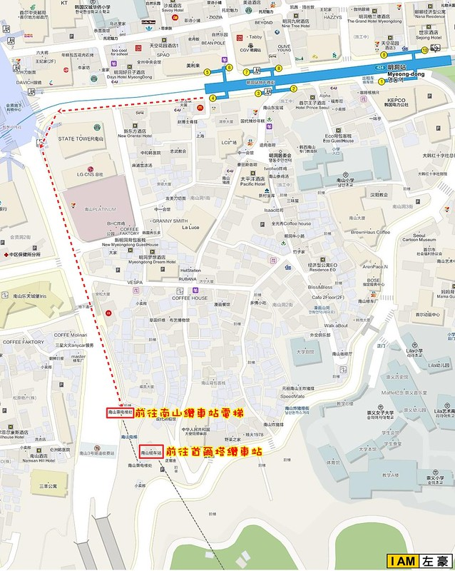 首爾塔-路線指示圖