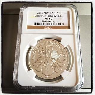 Vienna Philharmonic MS 69 silver coin. #numismatics
