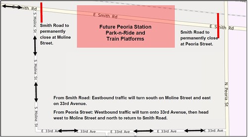 Map of Smith Road re-routing between Peoria and Moline streets