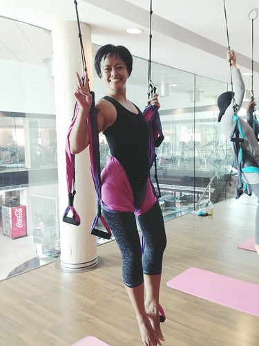 trying out Flying Yoga... super fun!