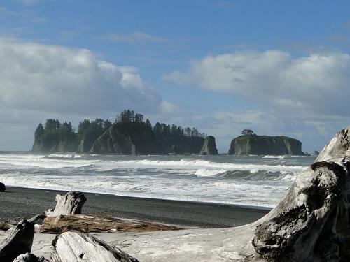Driftwood and sea stacks at Rialto Beach in Olympic National Park, Washington