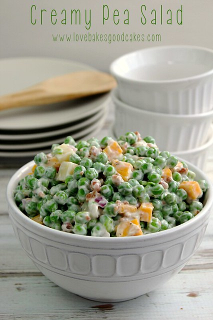 Creamy Pea Salad in white bowl.