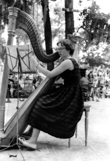 Marynel Hughes playing a harp at the Florida Folk Festival- White Springs