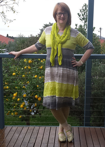me made May day 22.  Colette Moneta dress with crocheted scarf both made by me.  Will add a rtw cardi when I go out later.