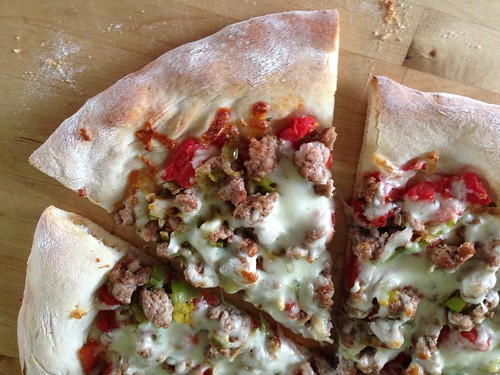 pizza with pork and leeks