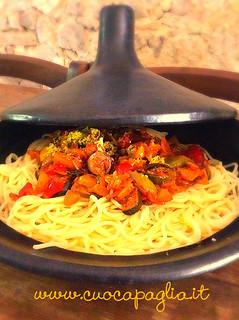 speghetti peperoni,zucchini, cipollatropea