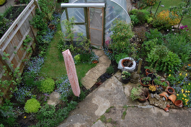 Looking down on the herb garden from an upstairs window