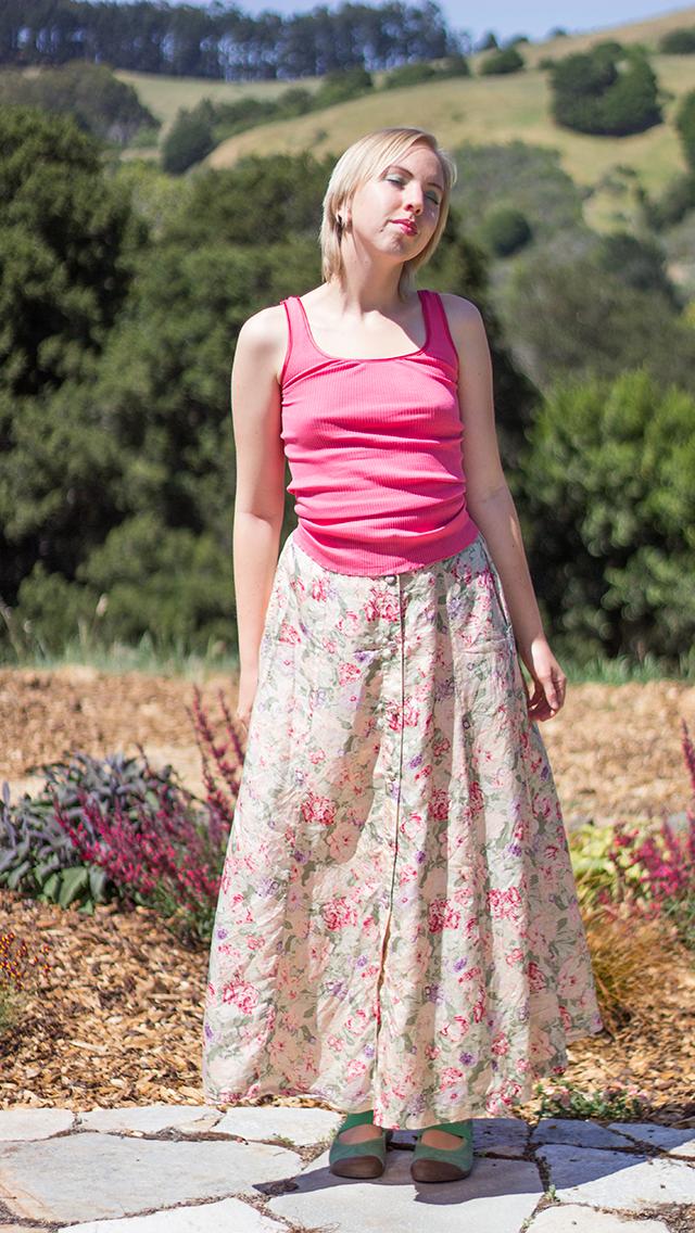 pink tank-top, vintage floral yellow silk maxi skirt