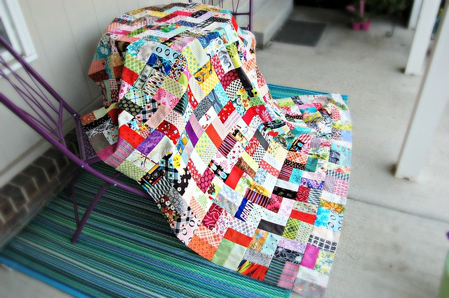 Scrappiness Happiness Quilt Top Porch