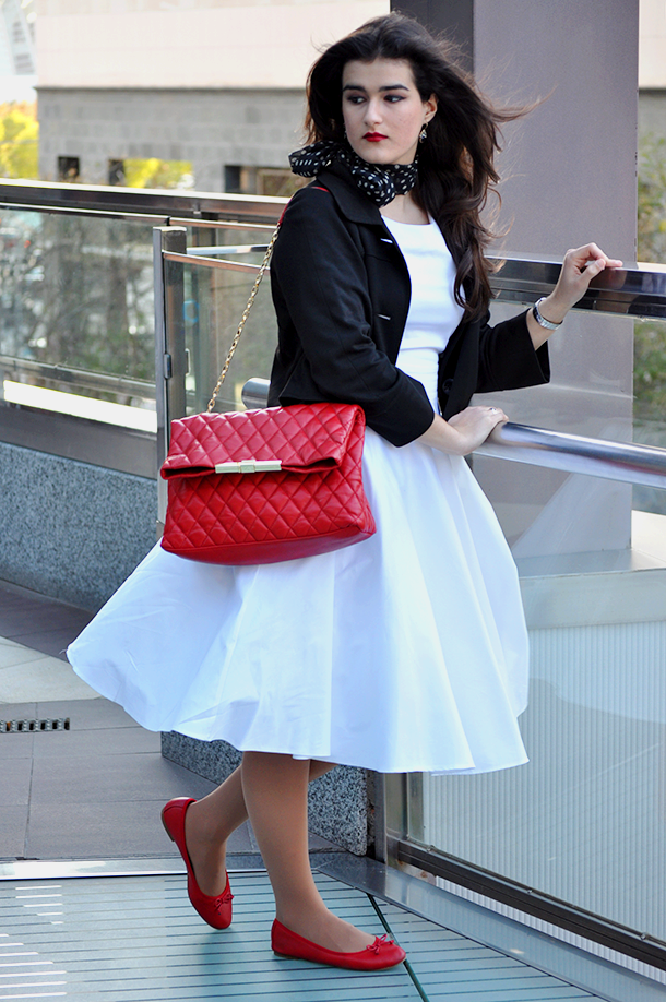 something fashion petticoat fifties fashion valencia blogger, white 50's dress pinup style, bolero vintage blogger zara bag sexy style 1950