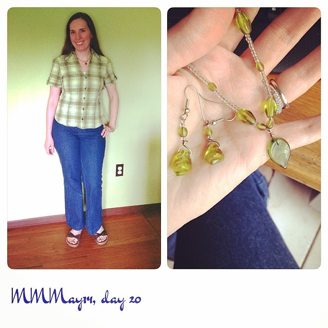 Me-made pants, plaid shirt, jewelry. Purchased cami & Birkenstocks. #mmmay14