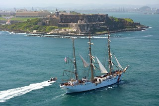 Coast Guard Barque Eagle sailed into San Juan, Puerto Rico, May 21, 2014, for a four-day port call, as part of the school ship's training schedule to sail to the Caribbean, along the East Coast, to Canada, and throughout New England. Following San Juan, Eagle is scheduled to visit Oranjestad, Aruba; Cozumel, Mexico; Miami; Sydney, Canada; St. Johns, Canada; New York; Bourne, Mass.; and Rockland, Maine. Eagle will return to New London City Pier in early August. During these voyages, Eagle will train four different groups of approximately 150 cadets each. (U.S. Coast Guard photo)