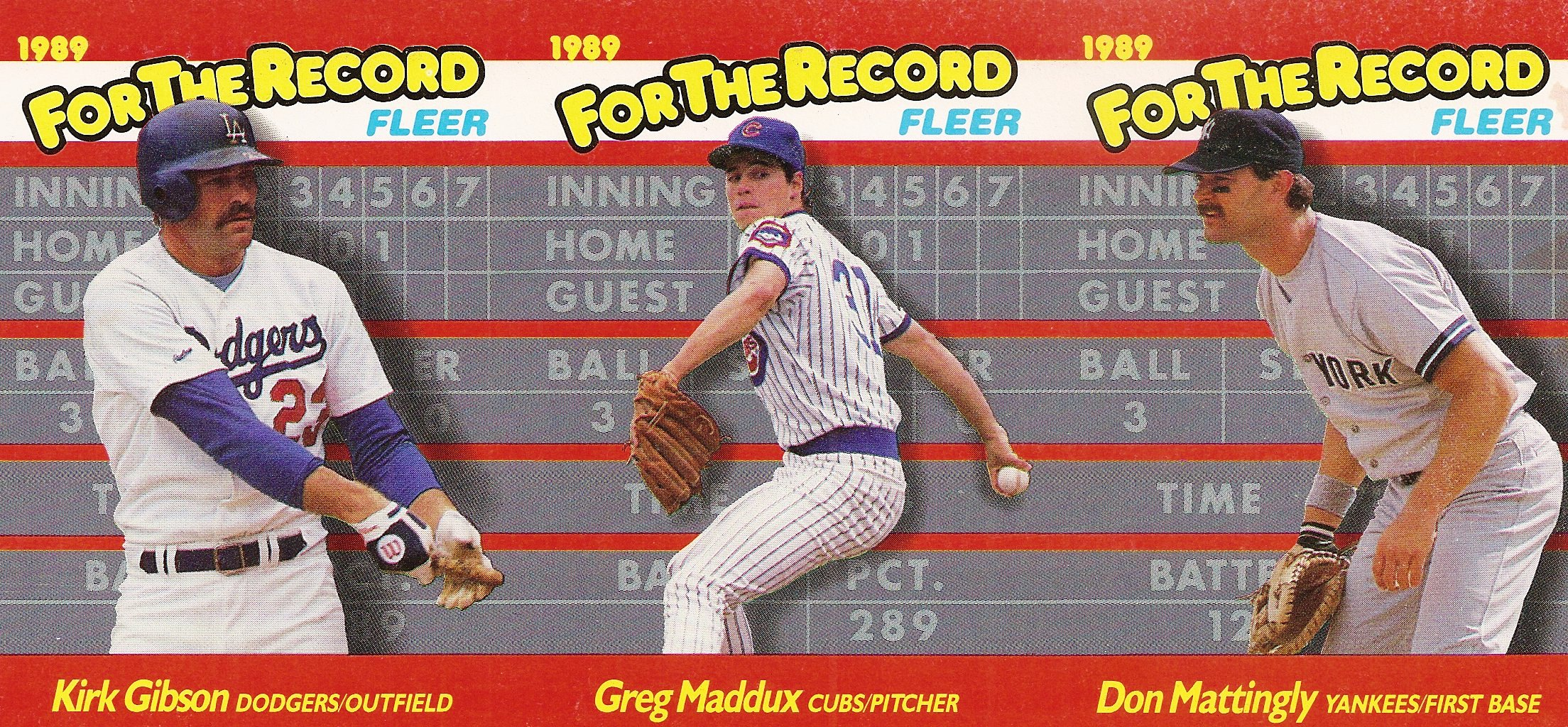 1989 Fleer For the Record Strip of 3