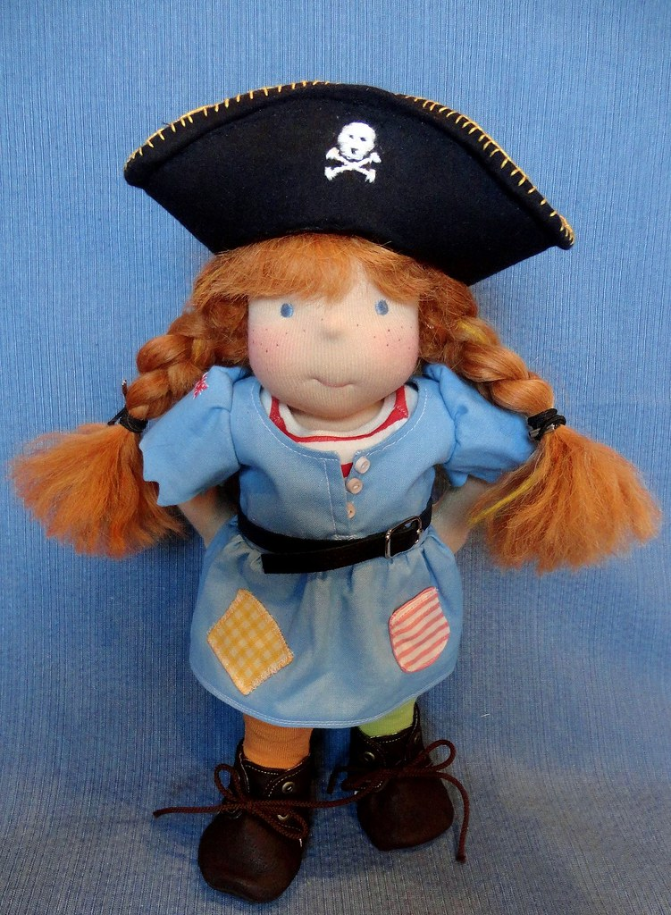 "Pippi- 11.5"" Pippi Longstocking - inspired GiggleSprout Doll"