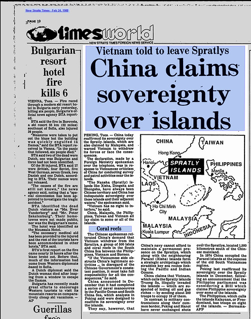 China claims sovereignty over islands - New Straits Times - Feb 24, 1988