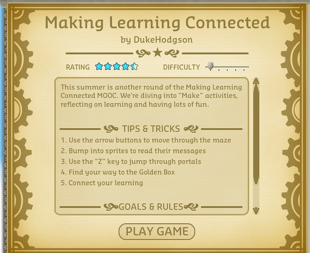 Kevin's Meandering Mind | The #CLMOOC Video Game (and How to Make Your Own)