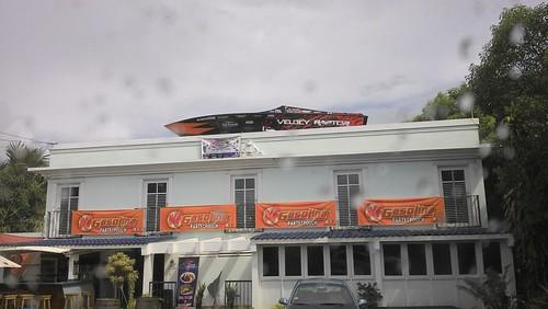 racing boat atop building