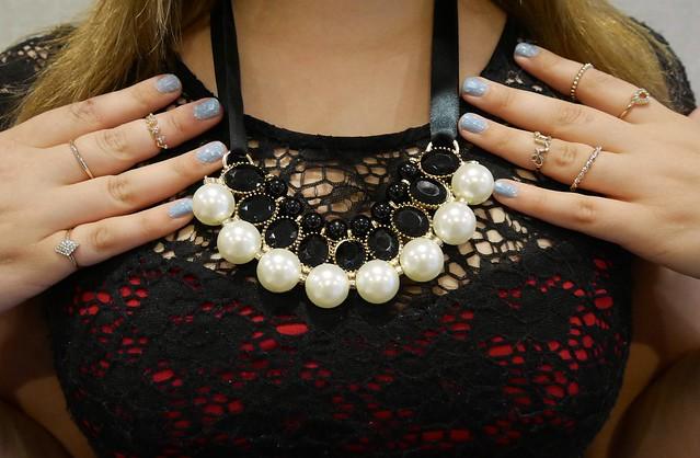 tartan trend jewel shack necklace black lace