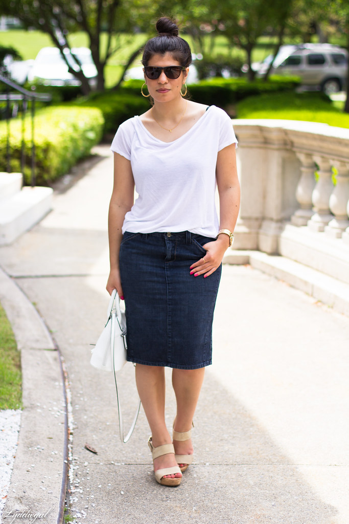 denim pencil skirt, white tee, hobie sunglasses-1.jpg