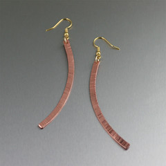 Chased Copper Drop Earrings